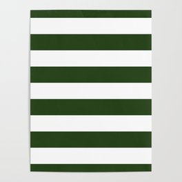 Large Dark Forest Green and White Cabana Tent Stripes Poster