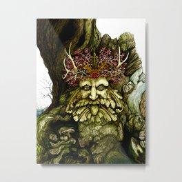 Green Man of the Wood Original Watercolor Metal Print
