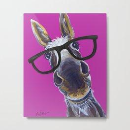 Up Close Donkey Art, Donkey with Glasses Art Metal Print