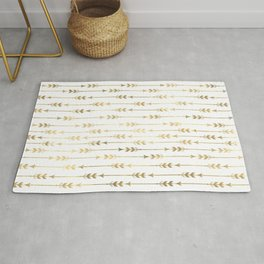 White & Gold Arrow Pattern Rug