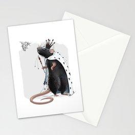 Rat in crown. Black rat. Royal rat. Rat artwork. Rat illustration Stationery Cards