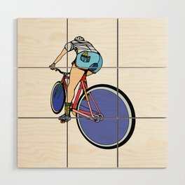 Fixie Cyclist Wood Wall Art