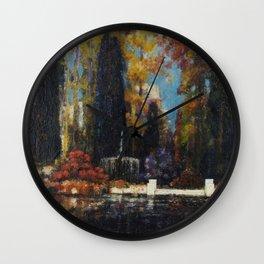 Garden with a Fountain by Thomas Mostyn Wall Clock