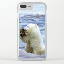 Cute Polar Bear Cub & Penguin Clear iPhone Case