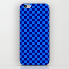 Brandeis Blue and Navy Blue Checkerboard iPhone Skin