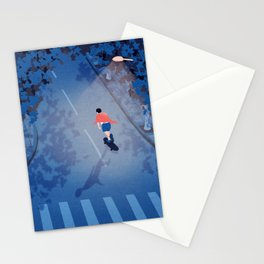 Longboarding alone on the street at night Stationery Cards