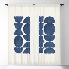 Blue navy retro scandinavian Mid century modern Blackout Curtain