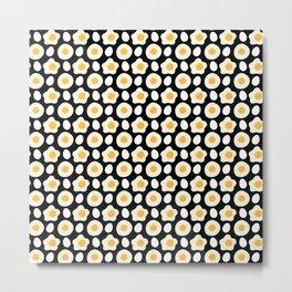 Fried Egg Pattern Breakfast Lovers Daisy Flower Metal Print
