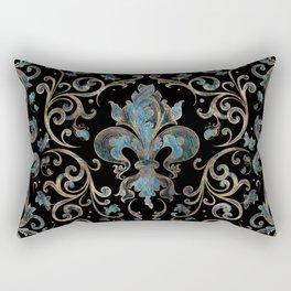 Fleur-de-lis ornament Abalone Shell and Gold Rectangular Pillow