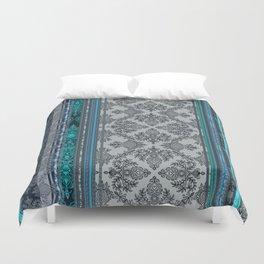 Teal, Aqua & Grey Vintage Bohemian Wallpaper Stripes Duvet Cover