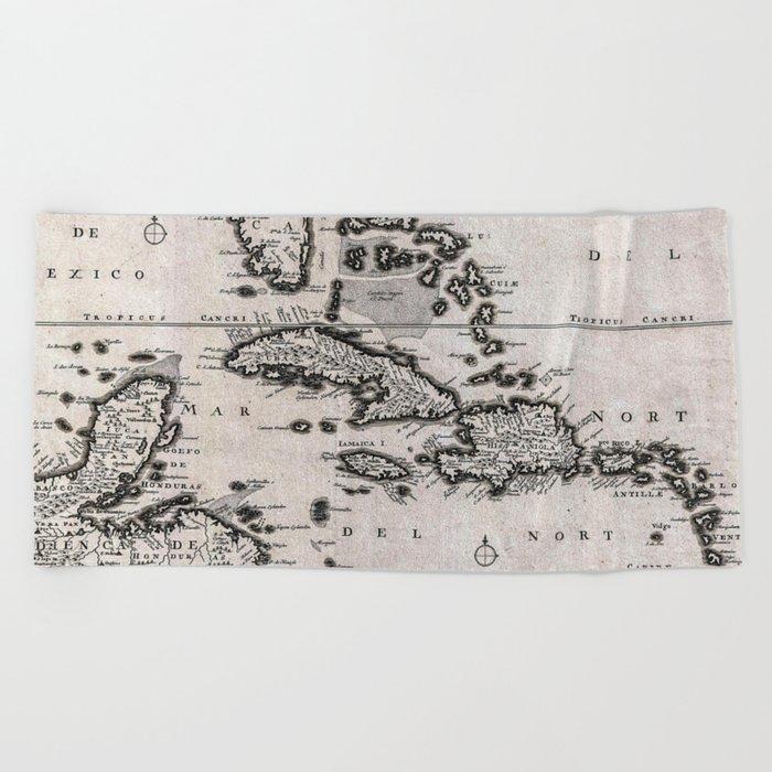 Vintage Americas Map Beach Towel