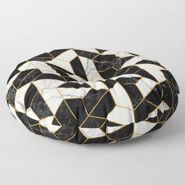 Black and White Marble Hexagonal Pattern Floor Pillow