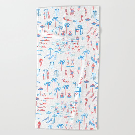 beach club pattern Beach Towel