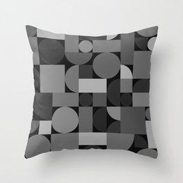Mid Century Modern Geometric Gray Throw Pillow