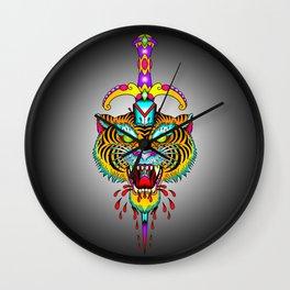 Tiger Meets Dagger Wall Clock