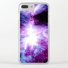 Orion Nebula Purple Periwinkle Blue Galaxy Clear iPhone Case