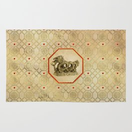 Chinese Feng-shui Dragon Gold Statue Rug