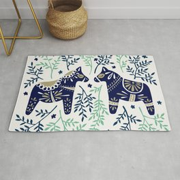 Swedish Dala Horse – Navy & Mint Palette Rug