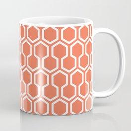 Honey Comb Pattern Coral Coffee Mug