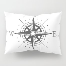 Nautical Compass - Grey White Pillow Sham