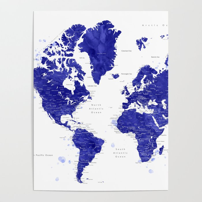 navy blue watercolor world map with cities ronnie poster by