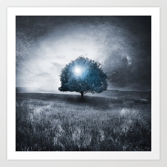 Energy from the blue tree Art Print