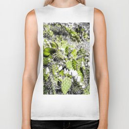 texture of the green cactus with white flower in the desert Biker Tank