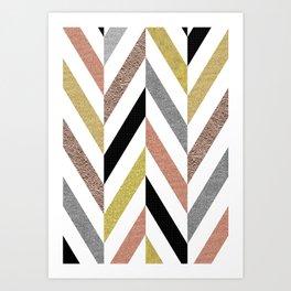 Rose Gold & Silver Herringbone Pattern Art Print