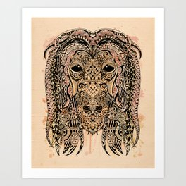 AFGHAN HOUND ZETANGLE Art Print