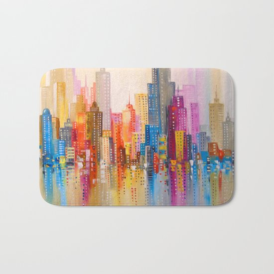 Rainbow city Bath Mat
