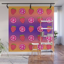 Tropical exotic grapefruit slices and sweet red strawberries summer fruity purple and sunny orange color cute pattern design. Wall Mural