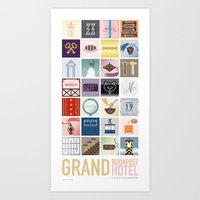 budapest hotel Art Prints featuring The Grand Budapest Hotel by Giulia Brolese