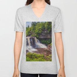 Blackwater Falls State Park Waterfall West Virginia Landscape Print Unisex V-Neck