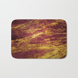 Classic Vintage Red Faux Marble With Gold Veins Bath Mat