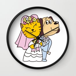 Wedding of a dog and a cat Wall Clock