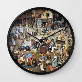 Pieter Bruegel - The Fight Between Carnival And Fasting - Digital Remastered Edition Wall Clock