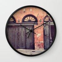doors Wall Clocks featuring Black Doors by Erin Johnson