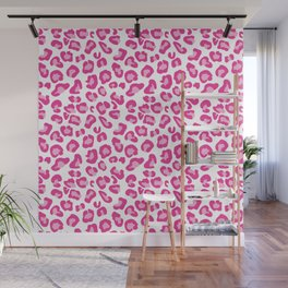 Leopard-Pinks on White Wall Mural