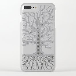 Pixel Art - Cross Stitch Chart - Grey Tree of Life - Clear iPhone Case