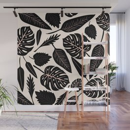 Monstera pattern in black and pastel Wall Mural