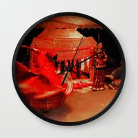 dancer Wall Clocks featuring Dancer  by Ethna Gillespie