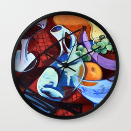 The Jug Did A Jig, Kitchen Cafe Fruit Bowl Wine Abstract Painting Wall Clock