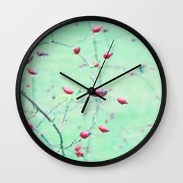 Red Berrys on light Green Ground Wall Clock