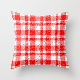Red White Patchy Marble Tartan Pattern Throw Pillow