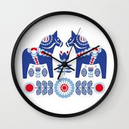 Blue Swedish Dalahäst Wall Clock