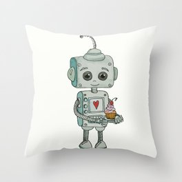 The feeling when your cute little robot brings you a cupcake in the morning :) Throw Pillow