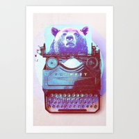 writer Art Prints featuring Grizzly writer by RedGoat