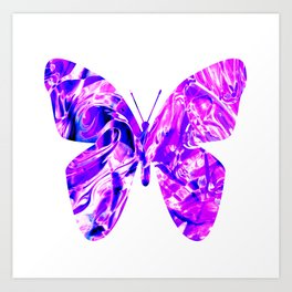 Fluid Butterfly (Violet Version) Art Print