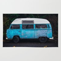 vw bus Area & Throw Rugs featuring Vintage VW Bus Rusted  by Limitless Design