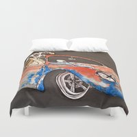 great dane Duvet Covers featuring Great Dane with his ride. by Stewart S